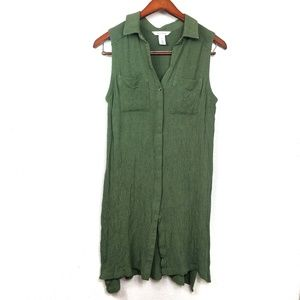White House Black Market Sleeveless Green Tunic